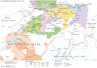 Lands held by the main noble families around 1200 Schweiz um 1200.png