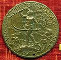 Scuola romana sotto alessandro VI, medaglia di tommaso bakócz, primate d'ungheria, verso con fortuna su un delfino.JPG