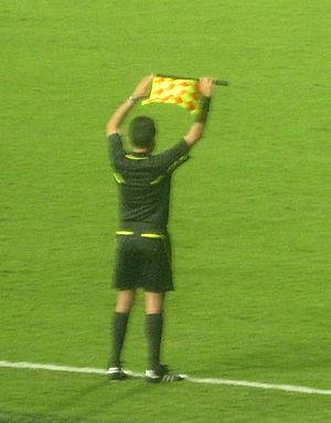 Substitute (association football) - The assistant referee indicating a substitution