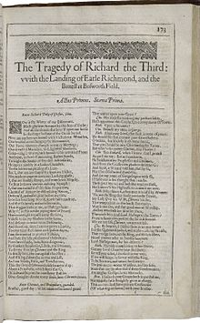 richard iii play  the first page of richard iii printed in the second folio of 1632