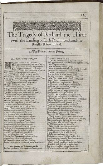 Richard III (play) - The first page of Richard III, printed in the Second Folio of 1632