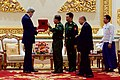 Secretary Kerry Receives Gift from Myanmar Commander-in-Chief Min Aung Hliang following a Bilateral Meeting at the Commander-in-Chief's Compound in Naypyitaw (27134425336).jpg