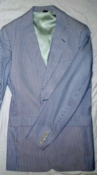 Blazer - A seersucker blazer, typically worn at the Henley Regatta, Oxford–Cambridge boat race, and at American Ivy League universities.