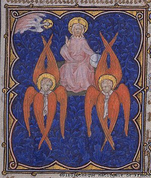 Christian angelology - Seraphim surround the divine throne in this illustration from the Petites Heures de Jean de Berry, a 14th-century illuminated manuscript.