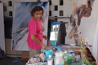 Shahabuddin Ahmed (artist) - Ahmed at work