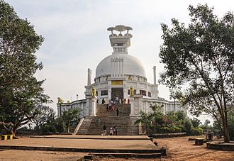 Odisha - Shanti Stupa at Dhauli is the location where Kalinga War was fought in c. 260 BCE