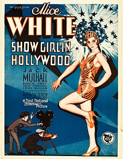 Movie poster featuring a large illustration of a young woman wearing a short orange-red dance outfit, high heels, and headdress. Her head is surrounded by shooting stars and sparkles, at her feet, much smaller-scaled, are two men—one is shouting through a megaphone, the other is operating a movie camera. The accompanying text is dominated by the name of star Alice White.