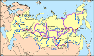 Demid Pyanda - Siberian river routes. Pyanda's route was from Turukhansk upstream the N. Tunguska to the Lena River, then downstream Lena to the location of future Yakutsk, then back upstream and via the Angara River back to the Yenisei.