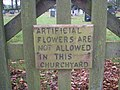 Sign on Church Gate, St Peter's , Alstonefield - geograph.org.uk - 1052972.jpg