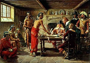 Jonas Bronck - Signing the Treaty with the Indians April 22, 1642, painted in 1908 by J.W. Dunsmore
