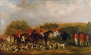 Sir Edmund Antrobus, 3rd Baronet - Sir Edmund and the Old Surrey Fox Hounds at the Foot of Addington Hills by William Barraud (1810-1851)