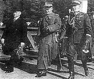 Independent Operational Group Silesia - Silesian Voivode Michał Grażyński, Marshal Edward Rydz-Śmigły, and General Władysław Bortnowski in Czech Cieszyn, 12 October 1938