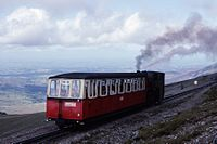 Snowdon Mountain Railway SLM loco 2870 (1923) No 8 'Eryri' approaching Summit Station, N Wales 18.8.1992 (10196585034).jpg
