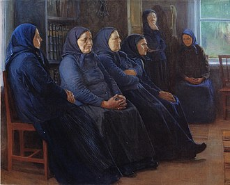 Awakening (Finnish religious movement) - Venny Soldan-Brofeldt: Women at the conventicle (1898). View from the artist's home, vicarage of Iisalmi.
