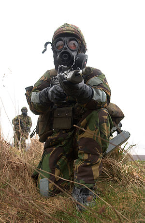 S10 NBC Respirator - A British soldier with the SF10 respirator during NBC exercises.