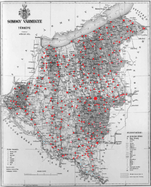 Somogy County (former) - Ethnic map of the county with data of the 1910 census (see the key in the description).