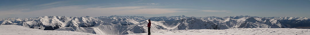 Panoramic view of some of the Southern Alps in Winter from the summit of Hamilton Peak in the Craigieburn Range.