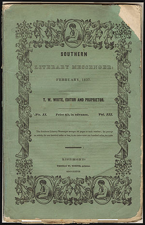 "Jeremiah N. Reynolds - The Southern Literary Messenger, February, 1837, containing the second installment of ""The Narrative of Arthur Gordon Pym""."