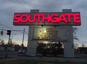 Eureka Road - The Eureka Road Entrance Signage for the Southgate Shopping Center, taken in February 2016.