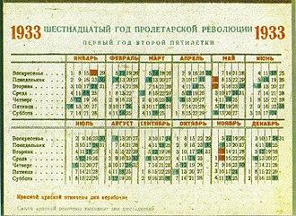 Week - Soviet calendar, 1933. Rest day of six-day work week in blue.