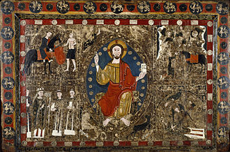 Antependium - Altar frontal in tempera paint on wood panel and stucco, Spain, Catalonia c. 1250, depicting the life of St Martin.