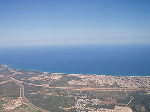 Spanish Mediterranean coast at Miami Platja (aerial view).jpg