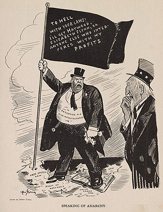 """1913 Paterson silk strike - Political cartoon of a silk producer who is holding a flag on which is written """"To hell with your laws! I'll get Haywood. Elizabeth Flynn, or anyone else who interferes with my profits."""""""