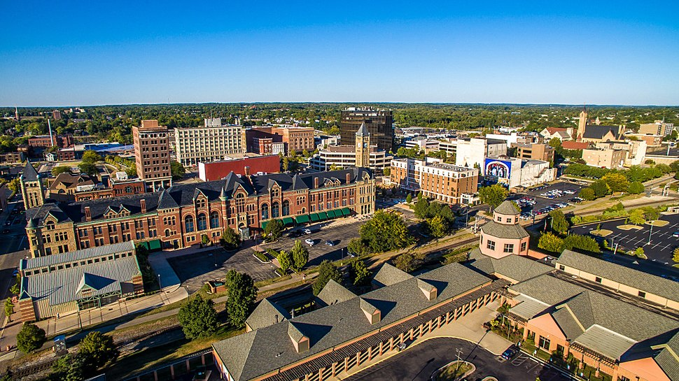 Skyline view of downtown Springfield showing the EF Hutton Tower, Clark County Heritage Center, Tecumseh Building, and the greater area.