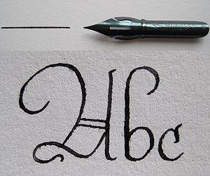 Pothook - Image: Spitzfeder mit Strich und Schriftbeispiel