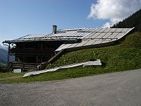 Typical avalanche protection of house in St Antonien