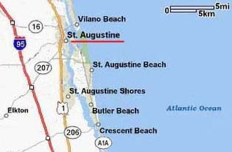 St. Augustine, Florida - Major roadways, St. Augustine and vicinity