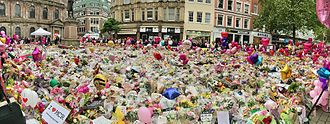 Manchester Arena bombing - Image: St Ann's Square floral tribute panorama (02)