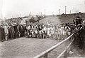 Start of the 1904 Olympic Marathon Race. David R. Francis firing the starting gun.jpg