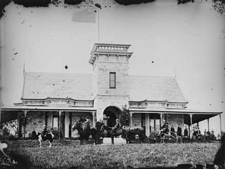 James Robert Dickson and family outside Toorak House, circa 1872 StateLibQld 1 89640 James Robert Dickson and family outside Toorak House, Hamilton, ca. 1872.jpg