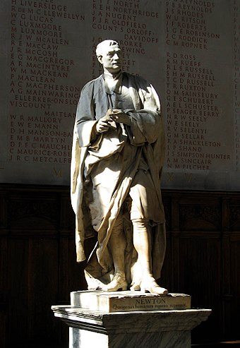 The statue of Sir Isaac Newton in the chapel, where scholars are typically installed StatueOfIsaacNewton.jpg