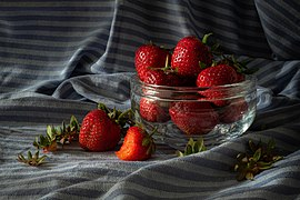 Still life with strawberries in a crystal bowl.jpg