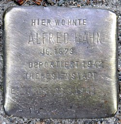 Photo of Alfred Hahn brass plaque
