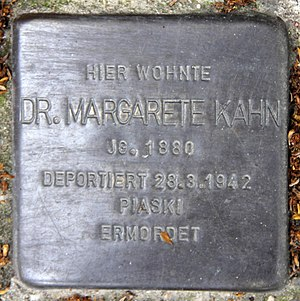 Margarete Kahn - Stolperstein at 127 Rudolstädter Straße in Wilmersdorf, in memory of Margarete Kahn