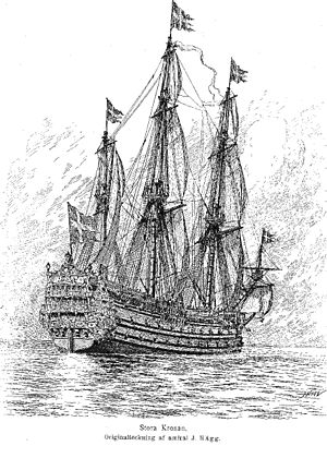 A black and white drawing of a large sailing warship seen from behind and to the right