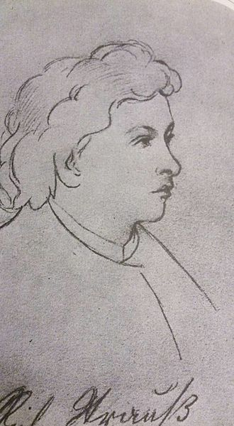 Symphony No. 1 (Strauss) - Sketch of the composer by Else Demelius-Schenkl, in 1880