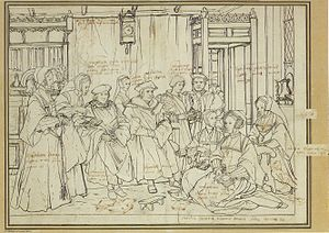 Sir Thomas More and Family - Study for a portrait of Thomas More's family, c. 1527, by Hans Holbein the Younger (Kunstmuseum Basel)