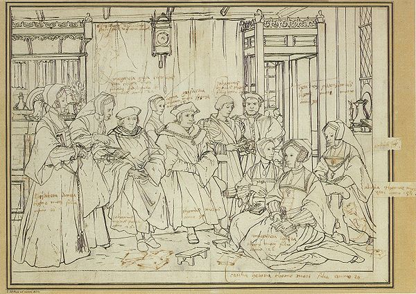 Study for the Family Portrait of Thomas More, c. 1527. Pen and brush in black on chalk sketch, Kunstmuseum Basel. Study for portrait of the More family, by Hans Holbein the Younger.jpg