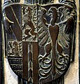Stuttgart Stiftskirche Bronzetafel Elisabeth von Baden und Hochberg 1518 Wappen.jpg