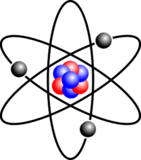 A drawing of a Lithium atom. In the middle is the nucleus, which in this case has four neutrons (blue) and three protons (red). Orbiting it are its three electrons.
