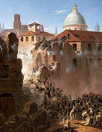 Painting of French grenadiers storming through a breach in a city wall as defenders fire from the windows of nearby houses
