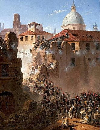 First Siege of Zaragoza - Assault on the walls of Saragossa by January Suchodolski, oil on canvas, 1845. (National Museum in Warsaw)
