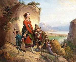 Resistance movements in partitioned Poland (1795–1918) - Partisans fleeing by January Suchodolski, oil on canvas.