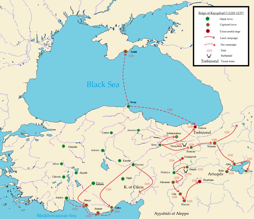 Sultan Kayqubad Kaykubad map Seljuks Rum Anatolia