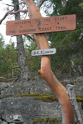 Sunshine Coast (British Columbia) - Beginning of the Sunshine Coast trail at Sarah Point.