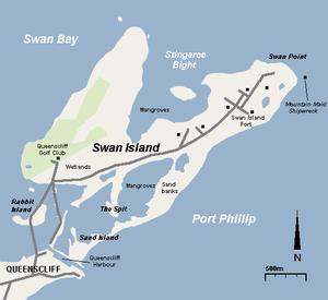 Swan Island (Victoria) - Map of Swan Island